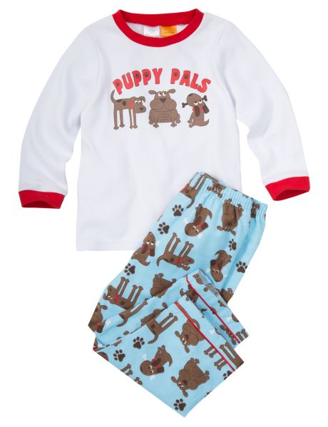 Made from 100% cotton, this Puppy Pals PJ Set includes a long-sleeved top and pants.