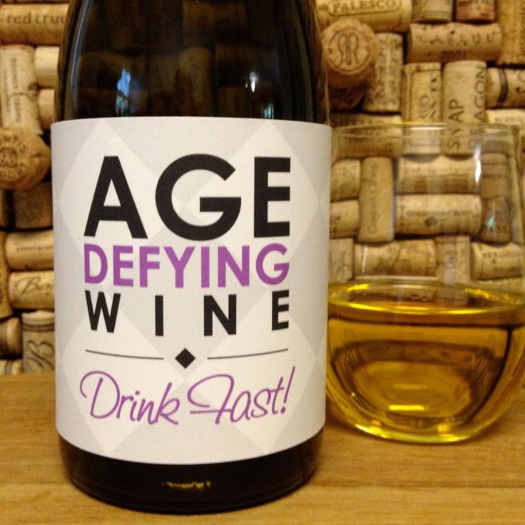 "Printable Wine Bottle Labels: Birthday ""Age Defying WIne"" Printable Birthday Wine Label"