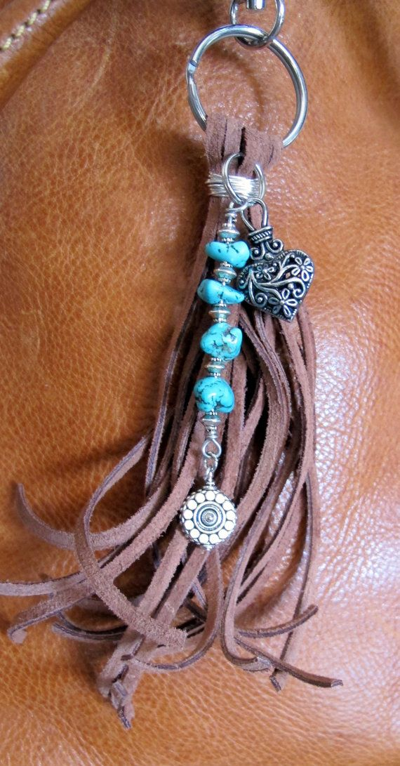 Purse Charm, Tassel, Zipper Pull, Key Chain - Chunky Brown Suede, Silver Heart…