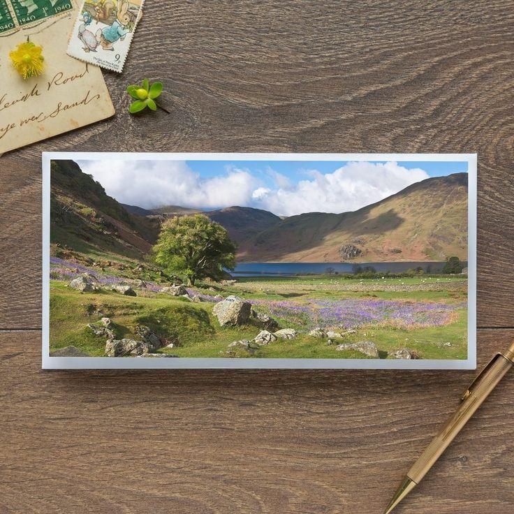 Single Blank Card by landscape photographer Nina K Claridge – Rannerdale Bluebells overlooking Crummock Water