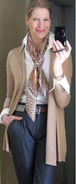 Maybe a less stuffy version with my long beige sweater and tiger print scarf.