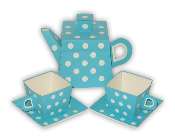 Polka Dot Teapot Favor Box and Small Teacups Set by favormakers, $13.95