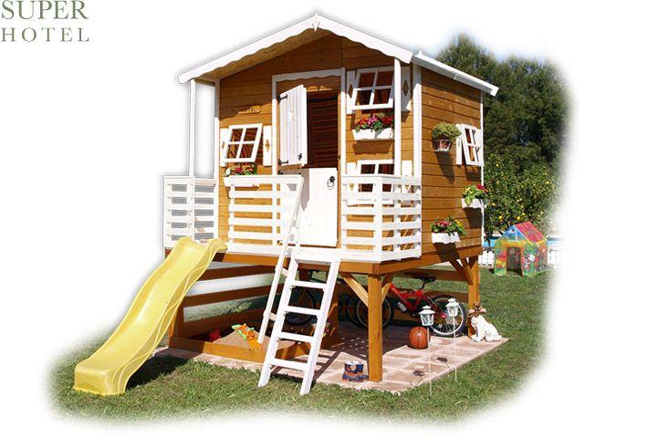 Casita de madera infantil con tobogán elevada modelo SUPER HOTEL playhouse ,,,   book your room!!!