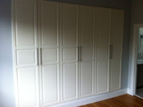 ikea hackers builtin wardrobe unit using 3 pax wardrobes w birkeland doors