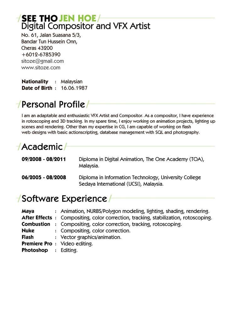Artist resume resume format vfx artist artist resume