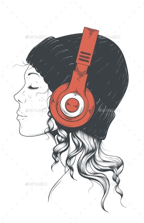 Girl In Headphones Music Drawings Headphones Art Girl With Headphones