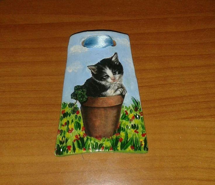 Tegola piccola terracotta decoupage pittura gattino cm 8 idea regalo