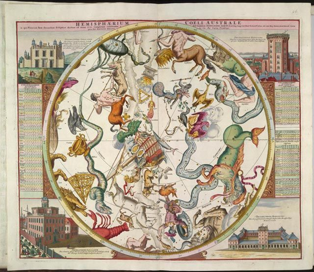 The star charts of Reiner Ottens (1698-1750) were intended first and foremost as a feast for the eye and had no pretensions to scientific precision or the presentation of the most recent cartographic information. The constellations on this chart are elaborately represented by figures from classical antiquity. In the corners of the chart are illustrations of four European observatories, including that of the noted sixteenth-century astronomer Tycho Brahe (1546-1601). This atlas is a…