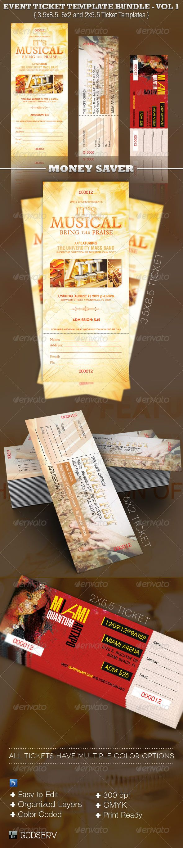 Event #Ticket Template Bundle Vol 1   Miscellaneous Print Templates  Download Here: Https:  Free Event Ticket Maker