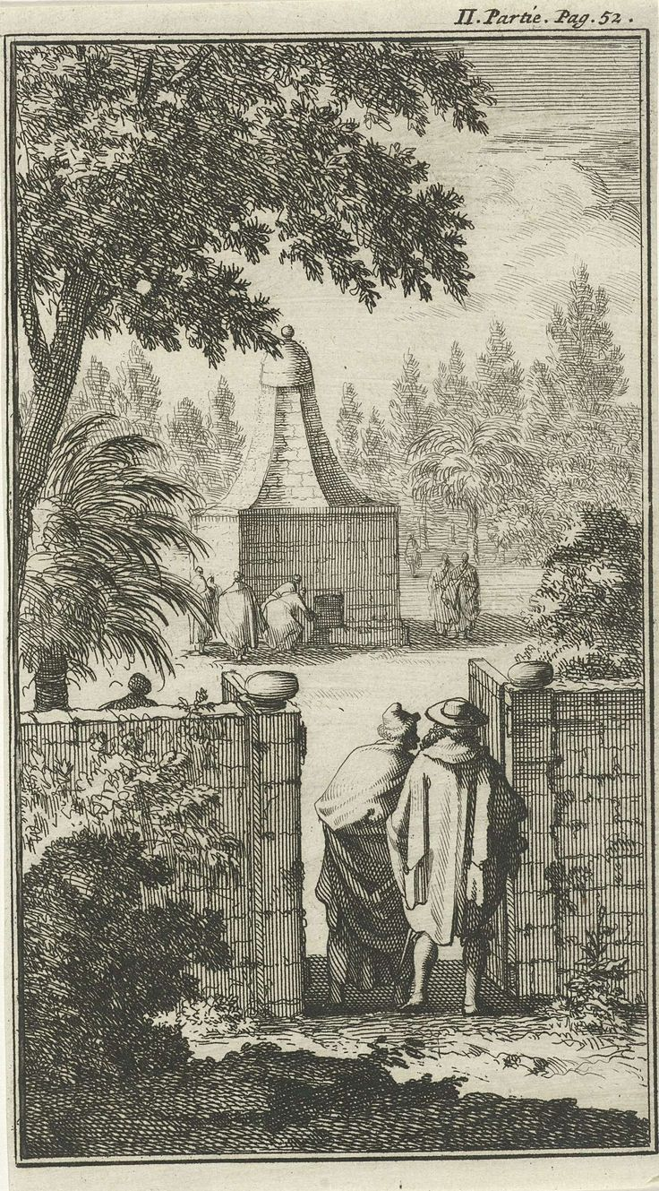 Jan Luyken | Graftombe van de Heilige George, de poortwachter te Damascus, Jan Luyken, Charles Angot, 1689 | Prent rechtsboven gemerkt: II. Partie Pag. 52.