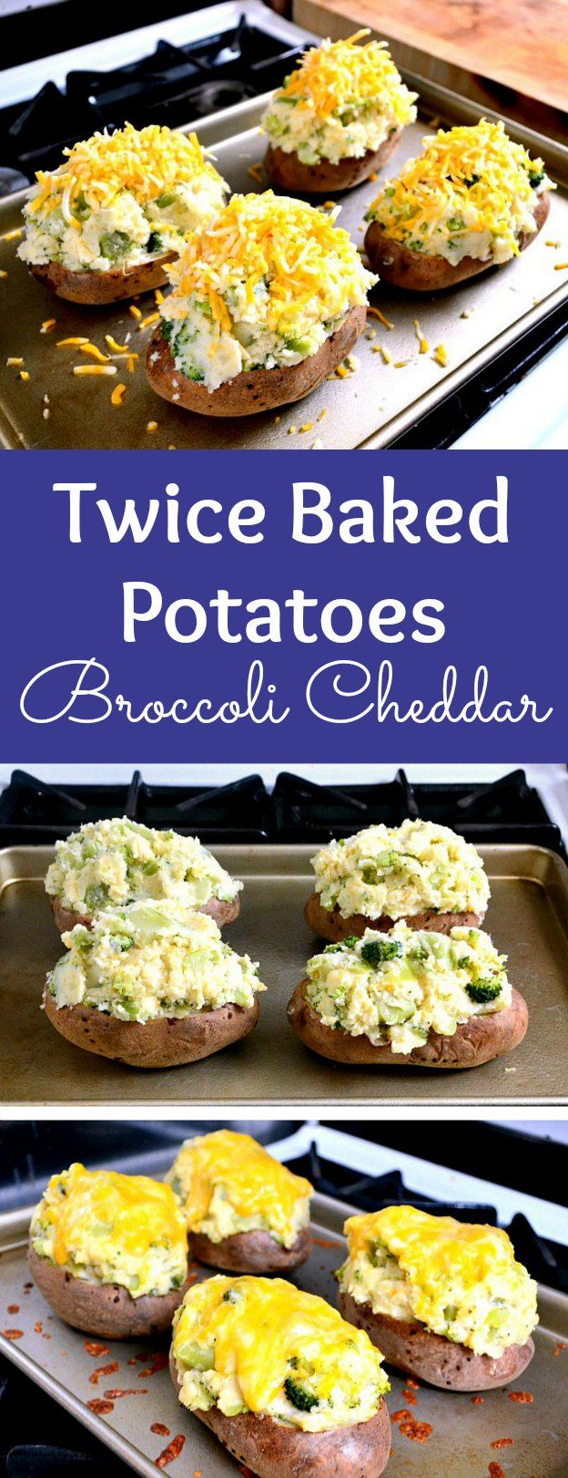 How to make Twice Baked Potatoes with Broccoli and Cheddar, an easy Twice Baked Potatoes recipe! Homemade stuffed potatoes you can make ahead for a vegetarian dinner or a side dish for any meal! These vegetarian Twice Baked Potatoes are loaded with broccoli and cheddar cheese. Bake these cheesy double stuffed Twice Baked Potatoes in the oven for a simple main dish! | Hello Little Home #potatoes #twicebakedpotatoes #stuffedpotatoes #bakedpotato #vegetarianrecipes #cheesy #broccoli #cheddar
