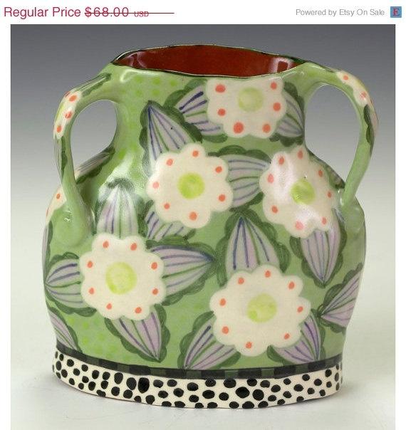 Cyber Sale Green Vase White Flower.
