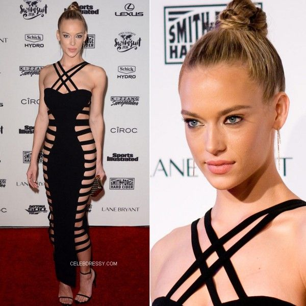 Hannah Ferguson Black Cutout Side Long Bandage Dress http://www.celebdressy.com/Hannah-Ferguson-worked-her-best-angles-in-a-Black-Cutout-Side-Long-Bandage-Dress-on-the-red-carpet-at-the-2016-Sports-Illustrated-Swimsuit-Issue-launch-party