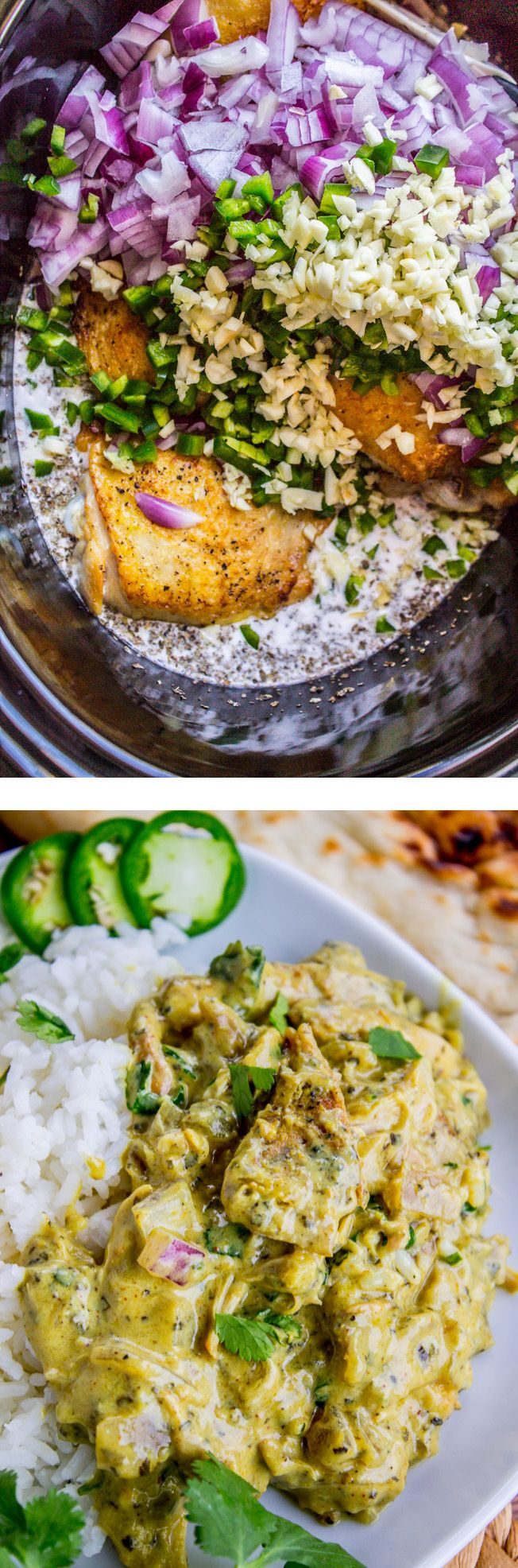 ~~Slow Cooker Basil Coconut Curry Chicken | Slow cook your way to the most flavorful, fall-off-the-bone carmelized chicken curry! The sauce has coconut milk, jalapeno, curry and chili powder to name a few ingredients. It's not overly spicy and has tons of flavor! | The Food Charlatan~~