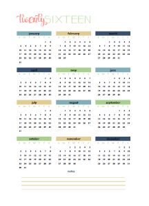 Free printable 2016 year to a page calendar.