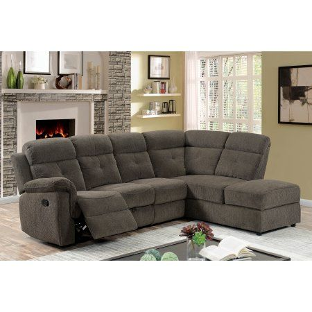 Furniture of America Wilding Sectional Sofa with Recliner ...