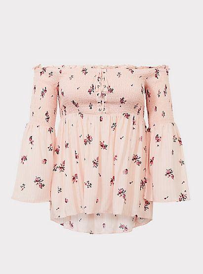 79051aad5af Pink Floral Modal Off Shoulder Babydoll TopPink Floral Modal Off Shoulder  Babydoll Top, THURSDAY BOUQUET
