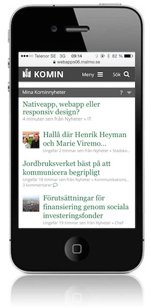 The mobile interface of the open source intranet of the City of Malmo, Sweden. There are many more screenshots when you click the link!