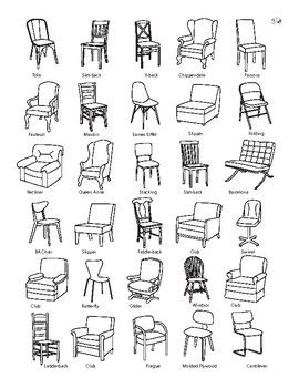 Design: Chairs  This is a chart of different types of common chairs, used in a lesson about design and how one object can take on many different forms. Take the chart around your house and see what types of chairs you own. Identify any differences you see between your chairs and the closest matching chairs on the chart. From Our Time to Learn.