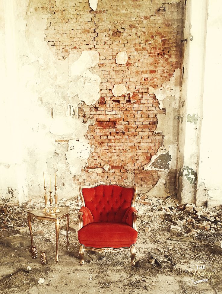 vintage red chair in an old factory