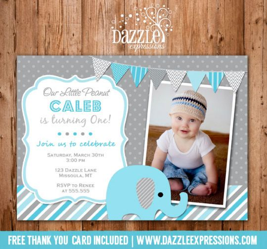 printable blue and gray elephant birthday invitation photo invite