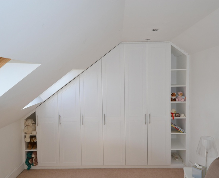 Wardrobes like this (not this style though) on both side of the Velux window. Below the Velux window, some open shelves.