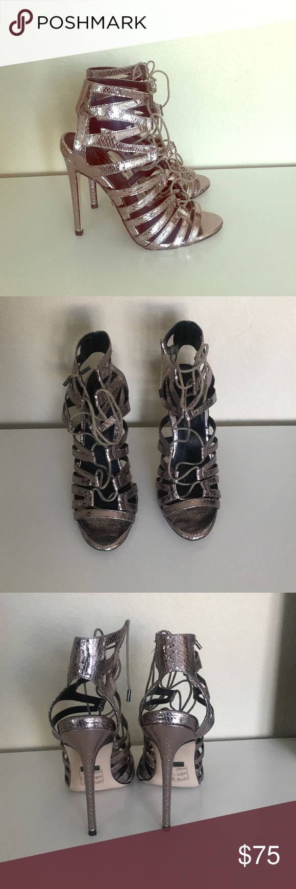 Topshop silver metallic caged sandals Only used once!  Excellent condition.  Bottom shows a little wear from wearing one time but other than that like new.  Size 38 Topshop Shoes Heels
