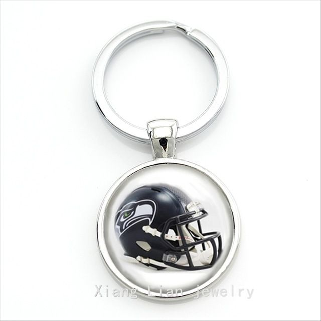 Attractively new lovely black picture case for  Seattle Seahawks team Newest  NFL team logo keychain NF096