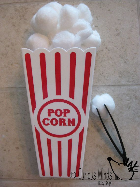 Items similar to Popcorn Fine Motor Busy Bag (learning activity) for Toddlers and young children.  Self-contained activity on Etsy