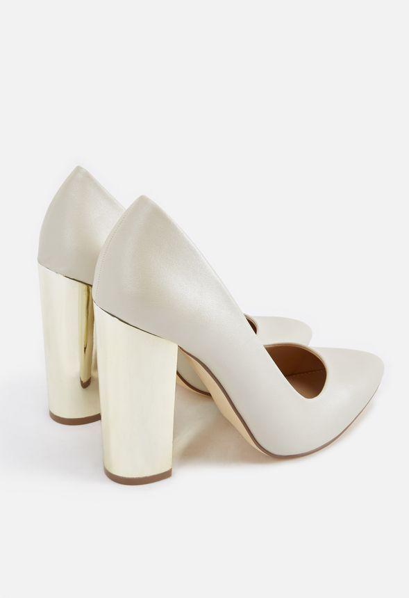 Paolina Metallic Block Heel Pump Schuhe In Pearl Gunstig Kaufen