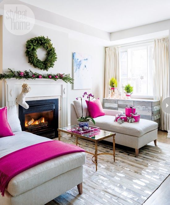 Designer Jessica Kelly ties her holiday look together by using a single accent color–fuchsia. #pink #christmas #interiors #luxurious