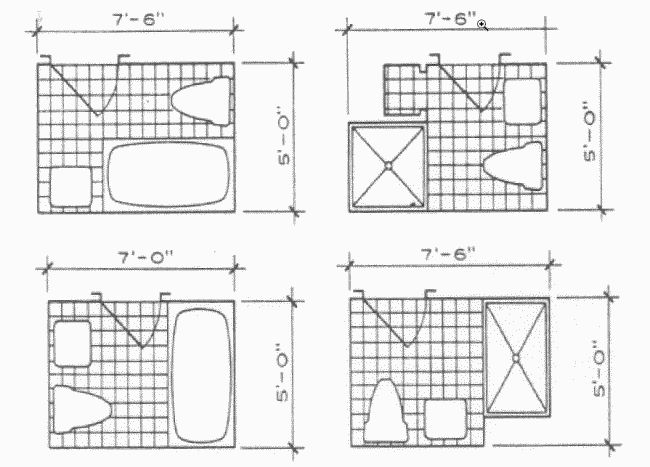 Here Are Some Minimal Size Bath Layouts From Architectural Graphic  Standards: