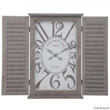 "J-Line Tweeluik wandklok raam en tweeluik in louvre grijs wit hout 55x80 <span style=""font-size: 0.01pt;"">Jline-by-Jolipa-61216-antieke-stijl-dekoratie-online-webshop-online</span>"