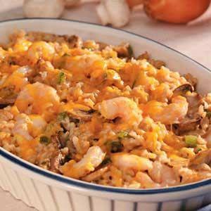 Makeover Shrimp Rice Casserole;  6 servings; 318 calories, 10 g fat per serving; Diabetic Exchanges: 3 lean meat, 2 starch, 1 vegetable, 1 fat