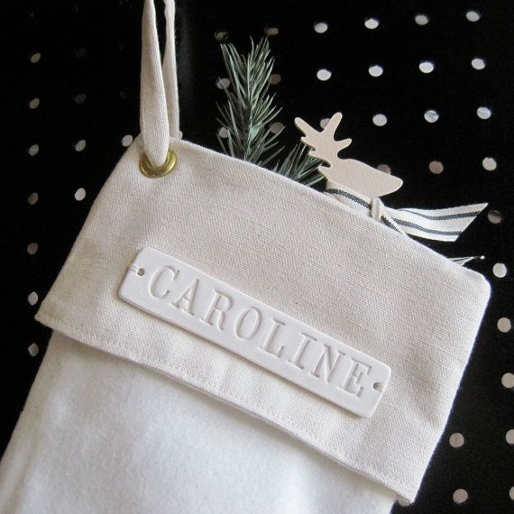 Personalized Christmas Stocking  large with custom ceramic tile stamped with name by Paloma's Nest $88.00 Handcrafted. Beautiful soft whites.