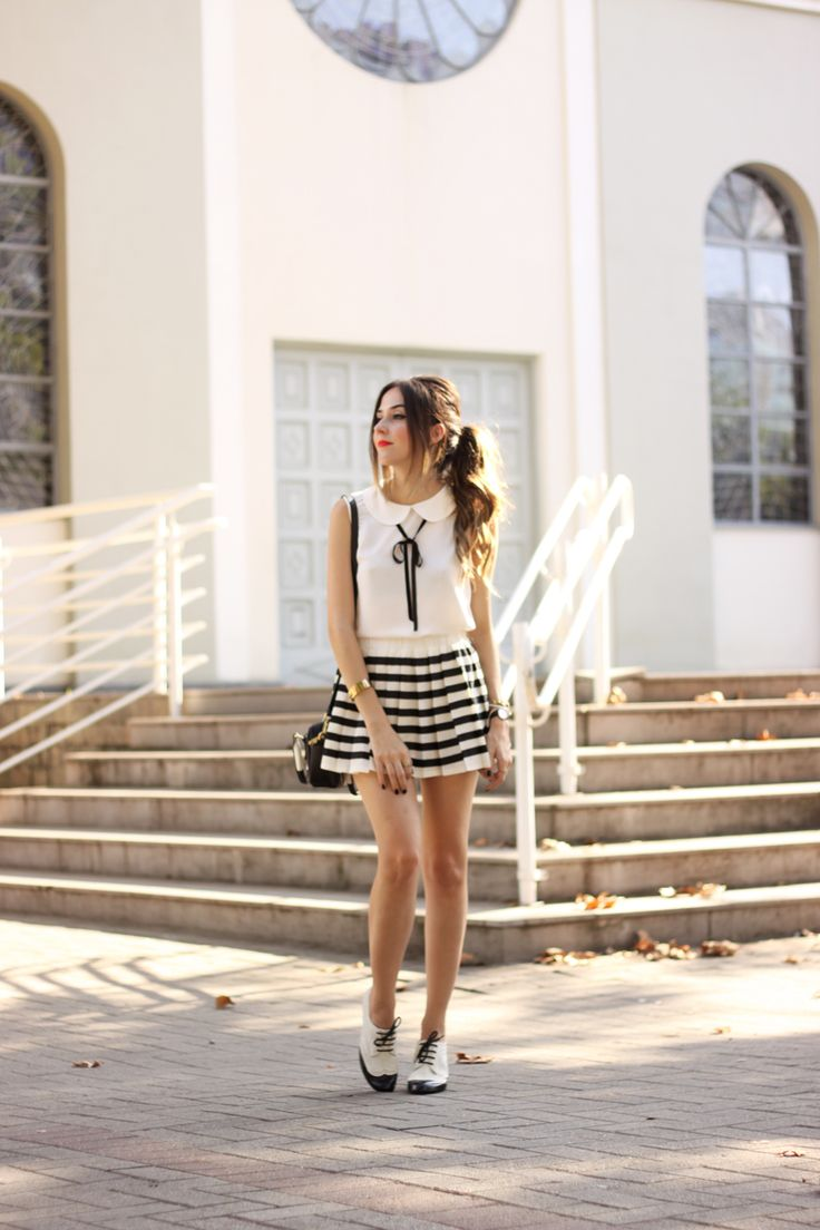 FashionCoolture - 20.04.2016 look du jour black and white preppy outfit stripes oxford (1)