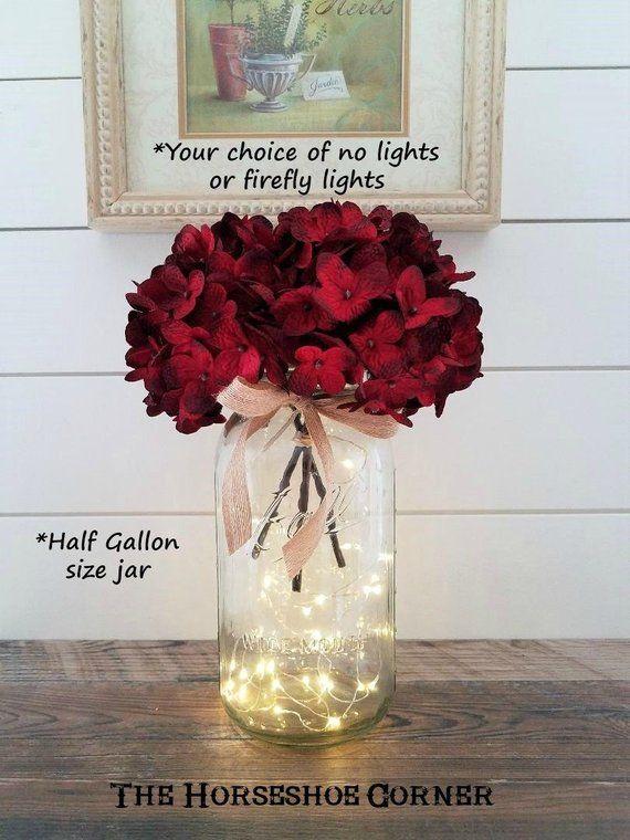 Mason Jar With Lights Lighted Mason Jar Vase Rustic Wedding Etsy In 2020 Lighted Centerpieces Mason Jar Flowers Jar Lights