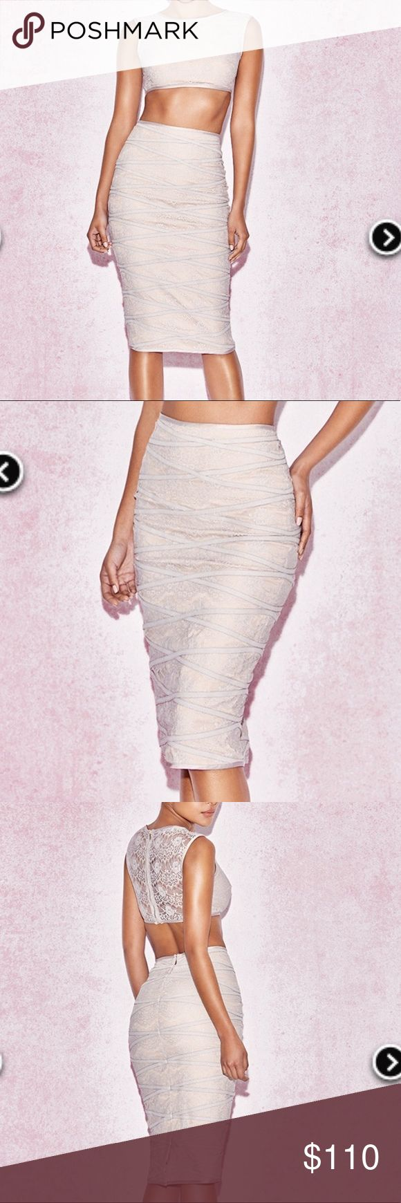 NWT House of CB two piece outfit NWT grey lace two piece top and skirt both in m... 2