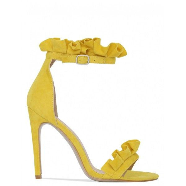 No Frills Frill Detail Heels In Yellow Faux Suede ($40) ❤ liked on Polyvore featuring shoes, high heeled footwear, ruffle shoes, yellow high heel shoes, faux suede shoes and synthetic shoes