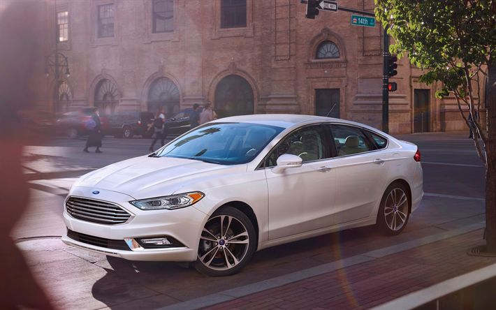 Download wallpapers Ford Mondeo, 2017 cars, street, new Mondeo, sedans, Ford