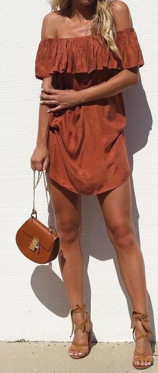 #summer #fblogger #outfits | Rust off The Shoulder Dress