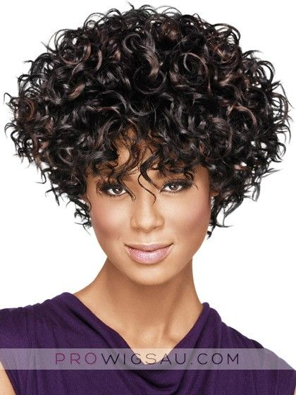 Full-On Curly Synthetic Capless Wig, front lace afro weave brisbane | P4 wwb302