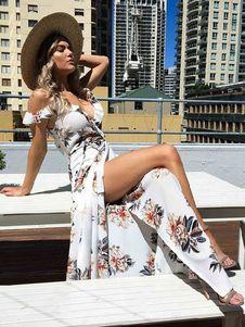 Boho Maxi Abito Chiffon V Neck manica corta fessura stampato floreale estate vestito volant