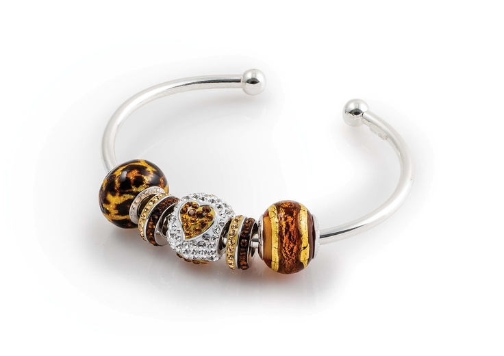 Amore & Baci gold and brown beads silver bracelet