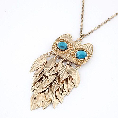 Новинки мода старинные ювелирные изделия сова голубые глаза длинная цепь Necklaces подвески для женщины мужчины Sautoir бижутерии 2016