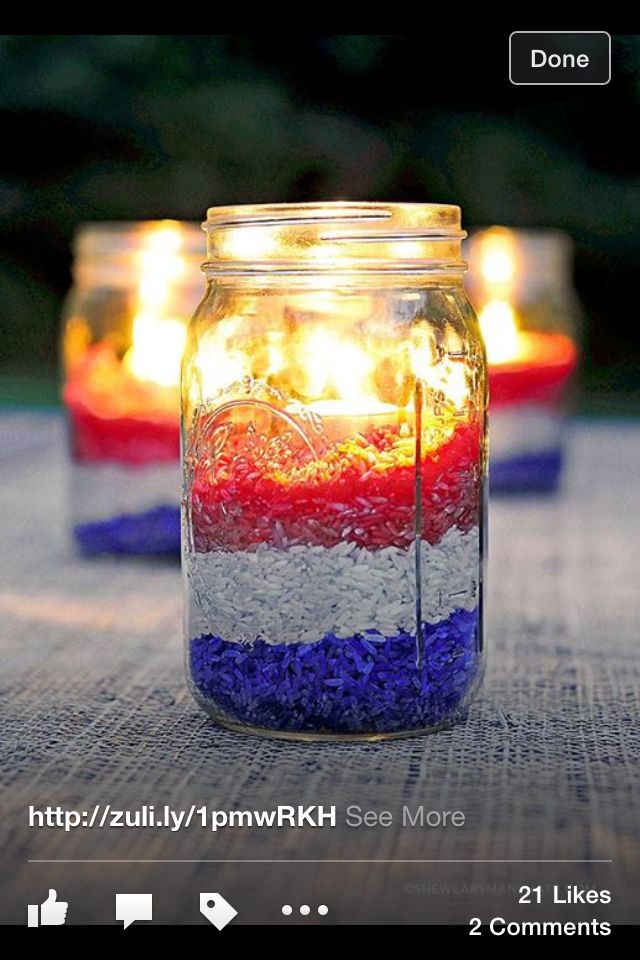 Easy and cute. Mason jar or any other glass container, Rice, food coloring and tea lights. I would use the flam less ones.