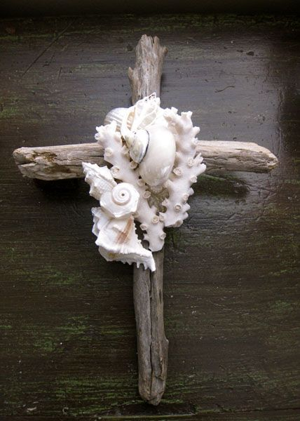 Coral & Shell Driftwood Cross