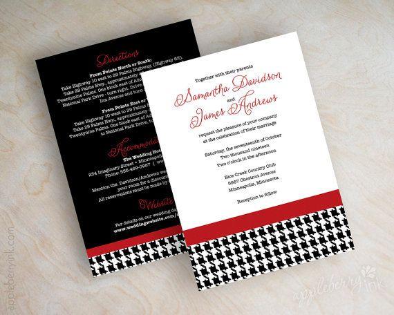 Houndstooth wedding invitation modern wedding by appleberryink, $1.00