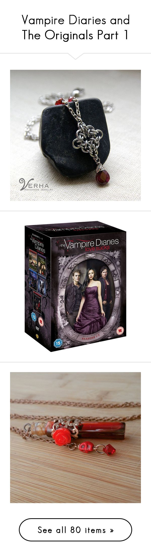 """""""Vampire Diaries and The Originals Part 1"""" by allie-19 ❤ liked on Polyvore featuring jewelry, necklaces, garnet jewellery, garnet necklace, garnet jewelry, movies, home, home decor, rustic home accessories e skull home decor"""