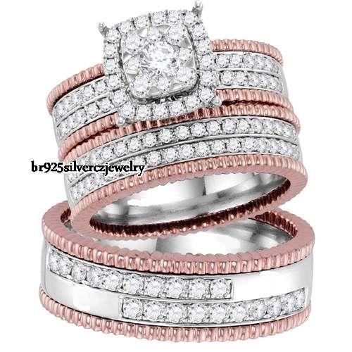Men's- Women's Two-Tone Gold Finish Sim.Diamond Engagement Trio Bridal Ring Set #br925silverczjewelry #WeddingEngagementAnniversaryDailyWear